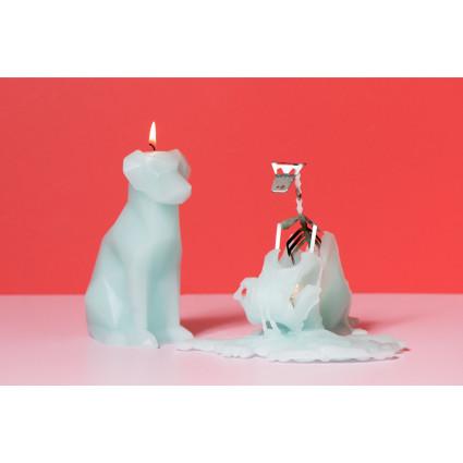 Kerze mit Skeletthund Voffi   Beere