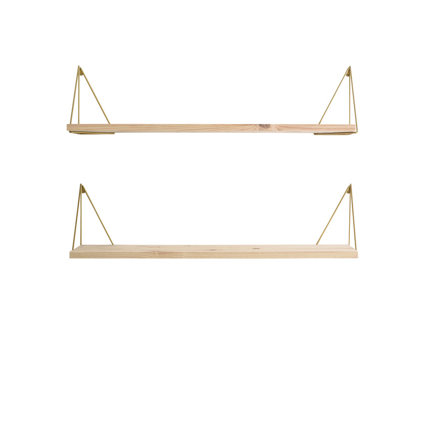 Shelf Pythagoras Play Set of 2 | Wood / Brass