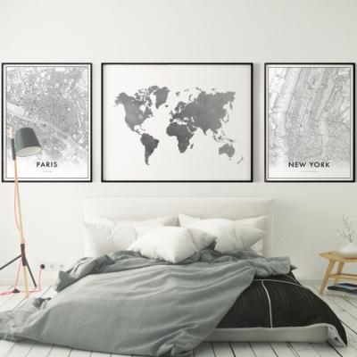 Gerahmte Leinwand | 3er-Set | Geografische Komposition