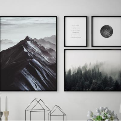 4er-Set Gerahmte Leinwand | Everest-Komposition