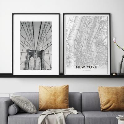 Gerahmte Leinwand | 2er-Set | Manhattan Komposition