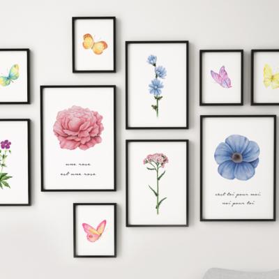 Gerahmte Leinwand | 10er-Set | Flora-Komposition