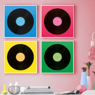 4er-Set Gerahmte Leinwand | Neon-Komposition