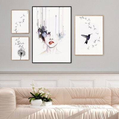 Gerahmte Leinwand | 4er-Set | Luftkomposition