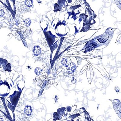 Wallpaper   English Flowers & Bugs Blue