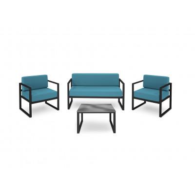 Gartenset Nicea 4er-Set | Dunkelgraues Gestell & Blau