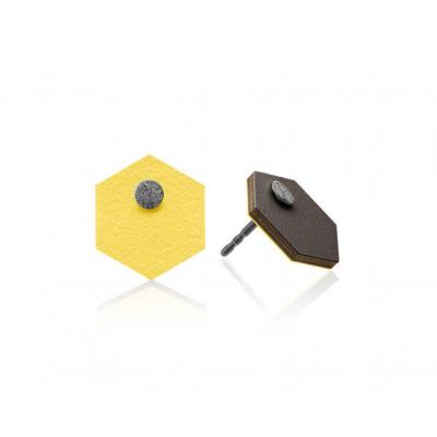 R10 Sechseckige Ohrringe   Gelb/Dunkelgrau