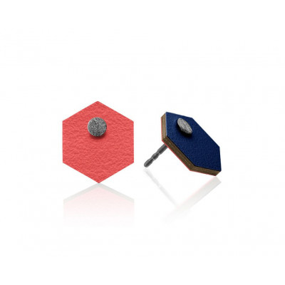 R10 Sechseckige Ohrringe   Dunkelblau/Rot