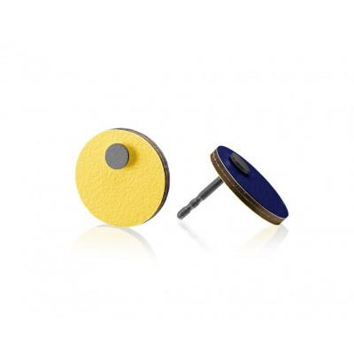 R7 Runde Ohrringe   Dunkelblau/Gelb