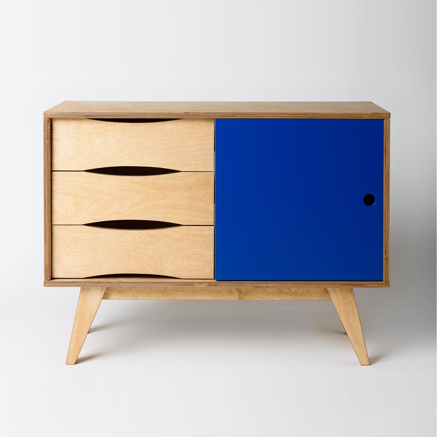 Sideboard SoSixties 1 Door | Oak + Dark Blue