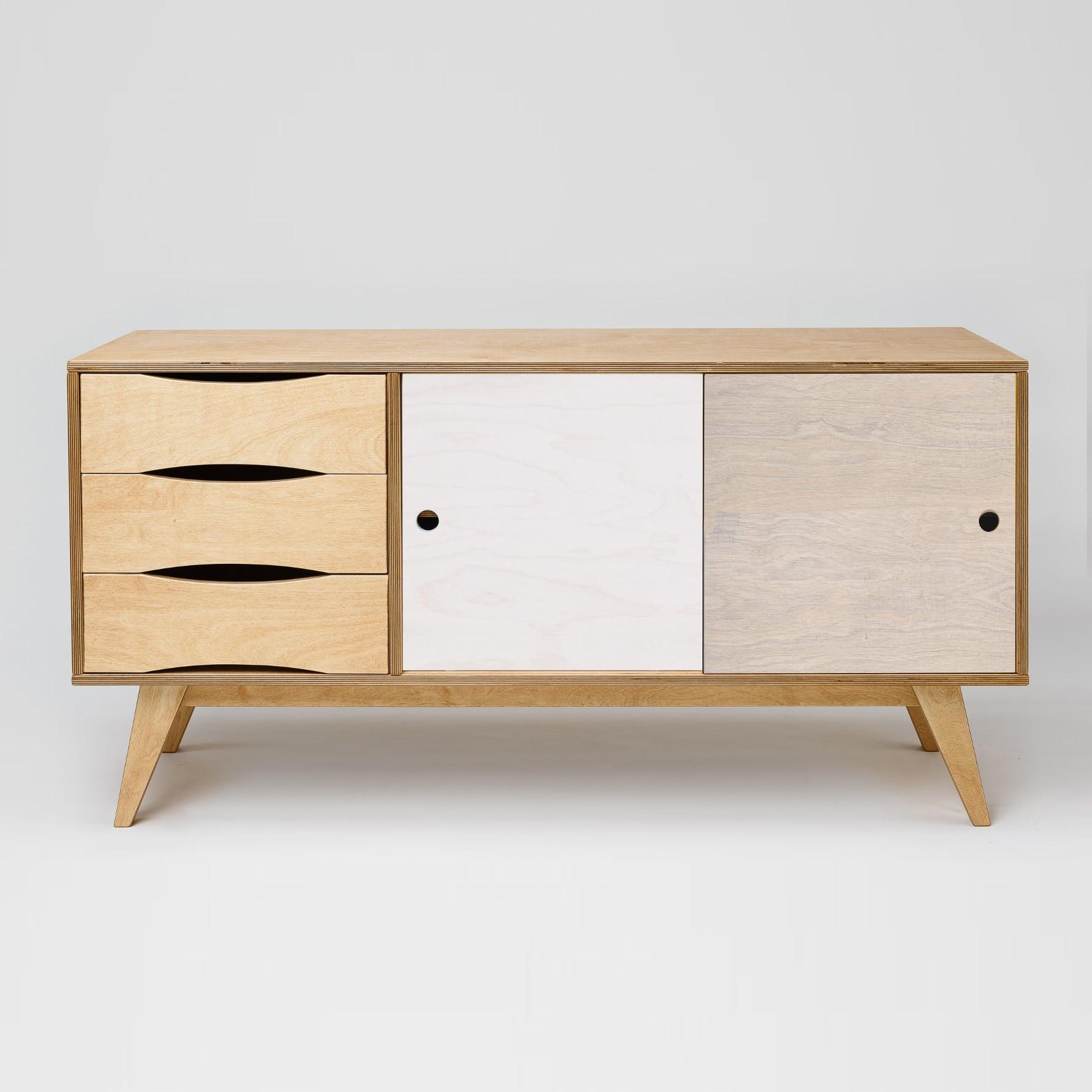 Sideboard SoSixties 2 Doors | Oak + Pebble Grey + White