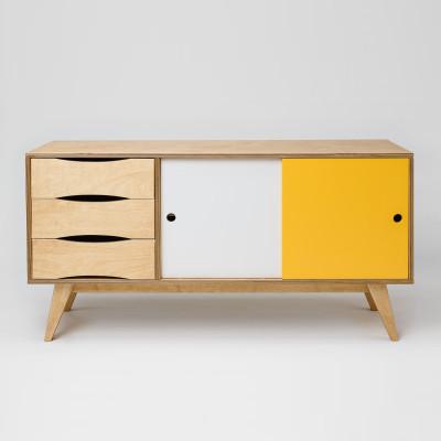Sideboard SoSixties 2 Türen | Eiche + Weiß + Gelb