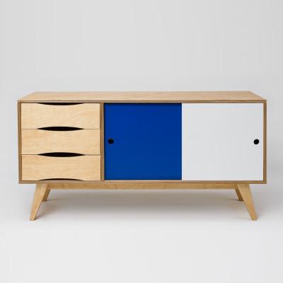 Sideboard SoSixties 2 Türen | Eiche + Blau + Weiß