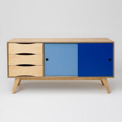 Sideboard SoSixties 2 Türen | Eiche + Blau