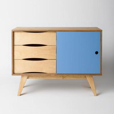 Sideboard SoSixties 1 Tür | Eiche + Hellblau