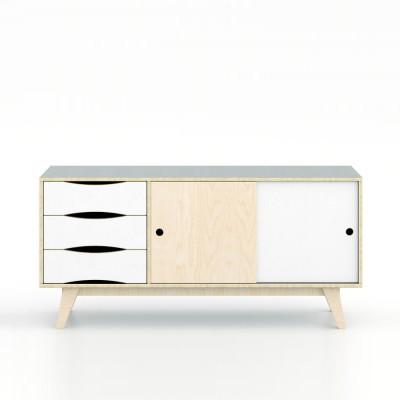 Sideboard SoSixties 2 Doors | Pebble Grey + Natural + White