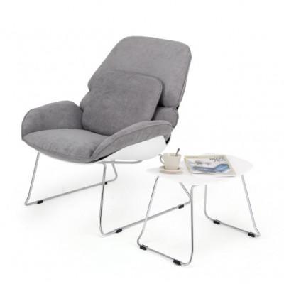 Loungesessel Petilia + Hocker | Grau