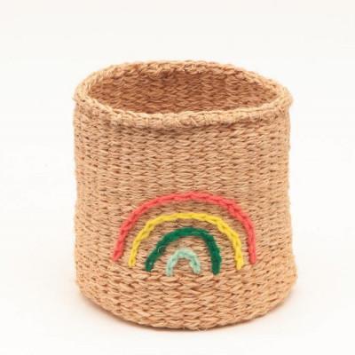 Embroidered Storage Basket   Rainbow