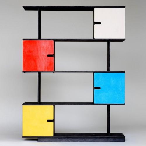 Shelf PIX | Black Stained Frame - Coloured Doors