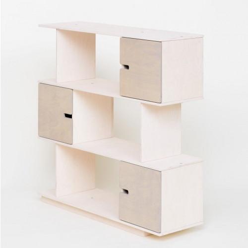 PIX Shelf | White Oilwaxed Doors Pebble Grey-6
