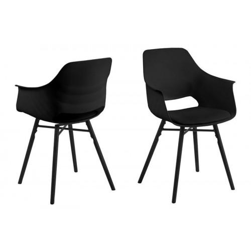 Chaise Clive Set de 2   Noir & Pieds Noirs
