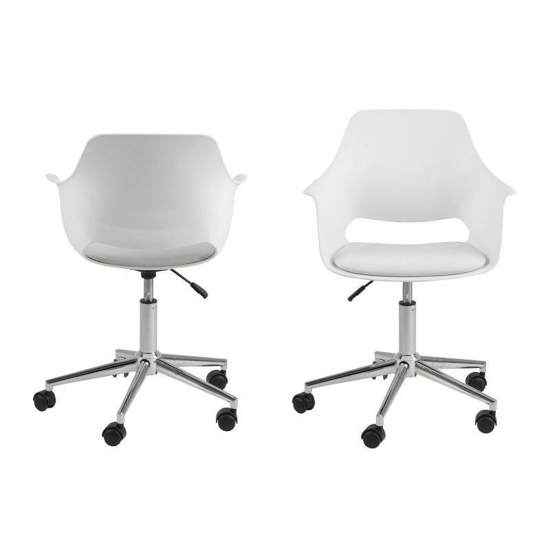 Set of 2 Desk Chairs Mana   White