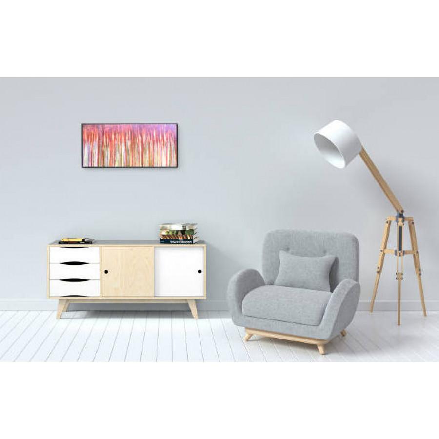 Sideboard SoSixties 2 Türen | Kieselgrau + Natur + Weiß
