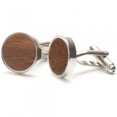 Manschettenknöpfe aus geradem Holz | Walnuss
