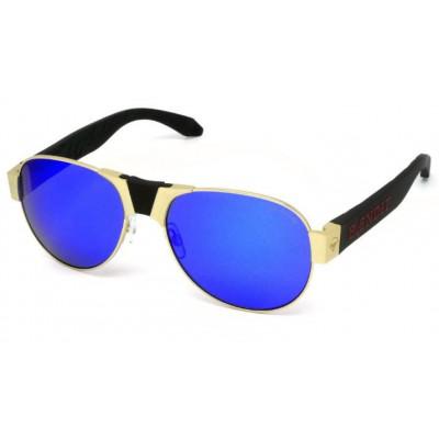 Red Baron Sonnenbrille | Goldrahmen & blaue Linse