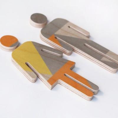 WC-Schild Sperrholz | Gelb-Orange-Grau