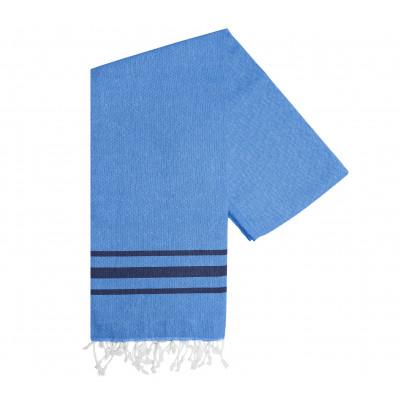 Hammam Handtuch Streifen Vibe | Hellblau Marine