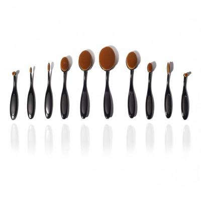 10er Set Make-up-Pinsel | Schwarz