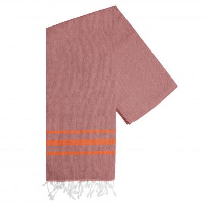 Hammam Handtuch Streifen Vibe | Schwarz-Orange
