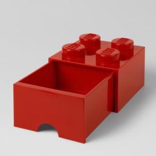 LEGO Brick Drawer 4 Knobs (1 Drawer)   Red