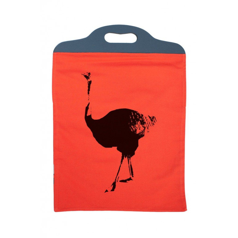 Handtas Oranje met Struisvogel