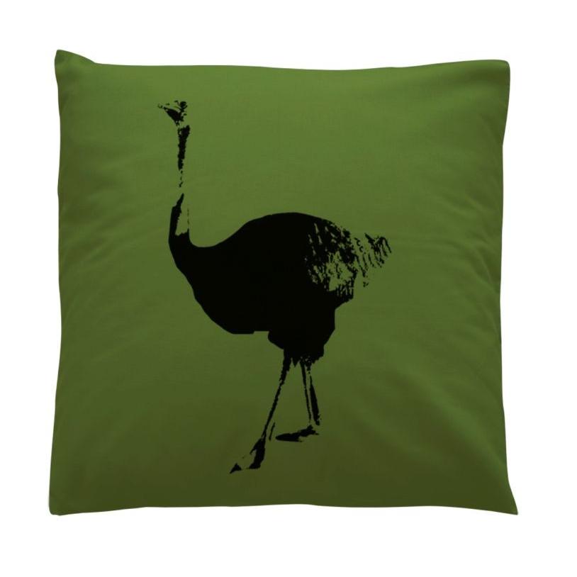 Kussen met struisvogel - Groen