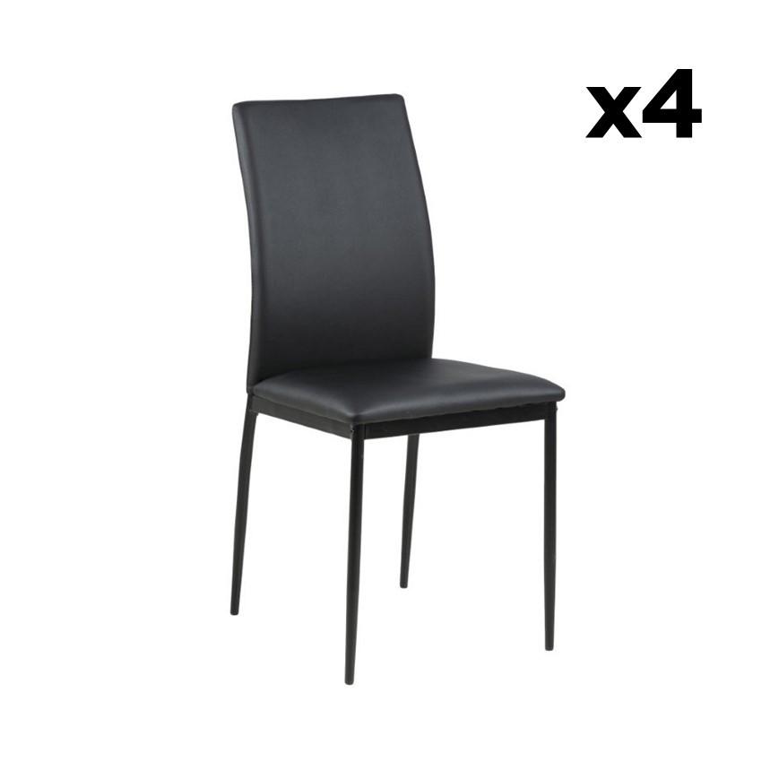 Set of 4 Dining Chairs Remina   Black