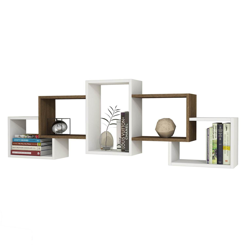 Shelf Berril | White & Walnut Wood