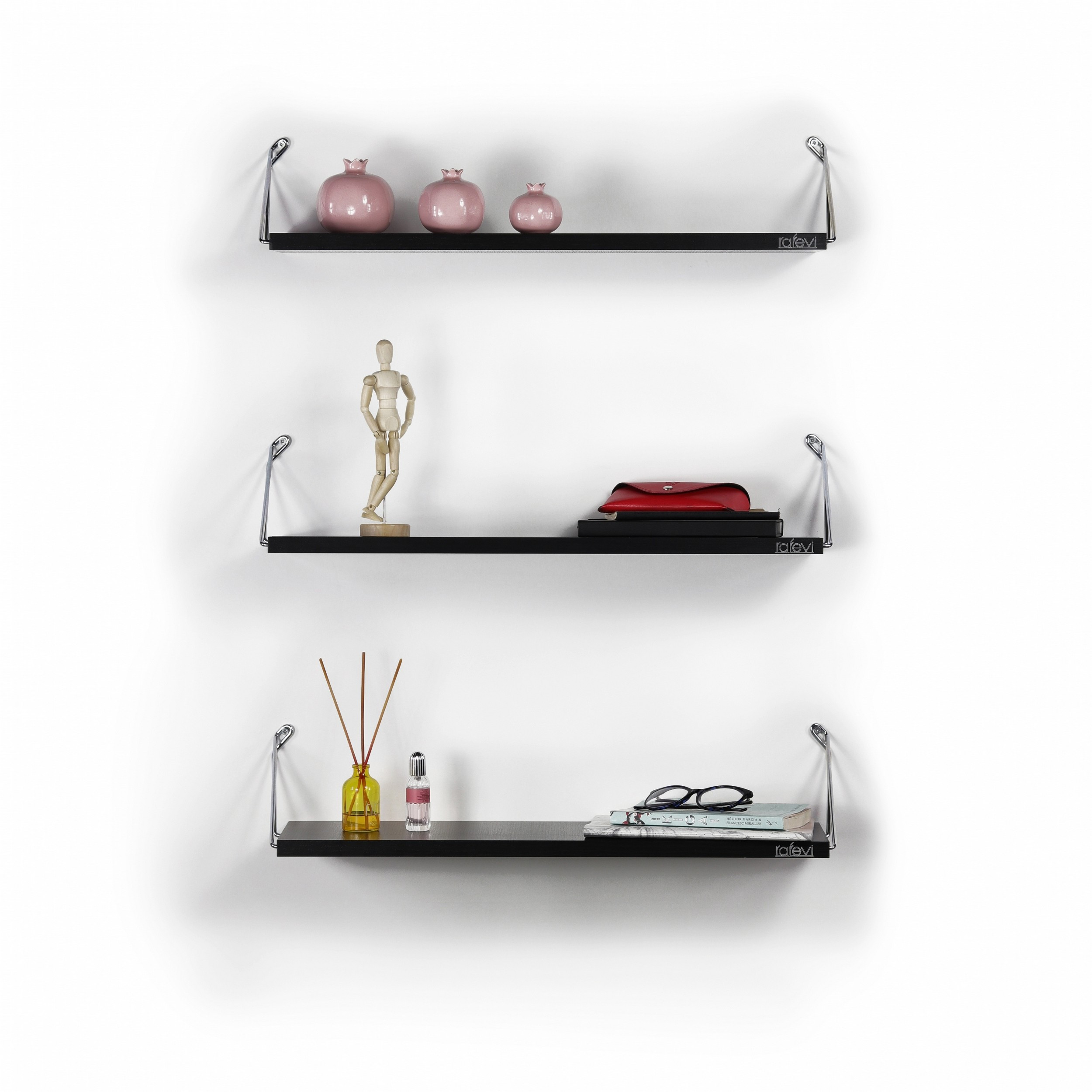 Shelf Altai Set of 3   Black & Chrome