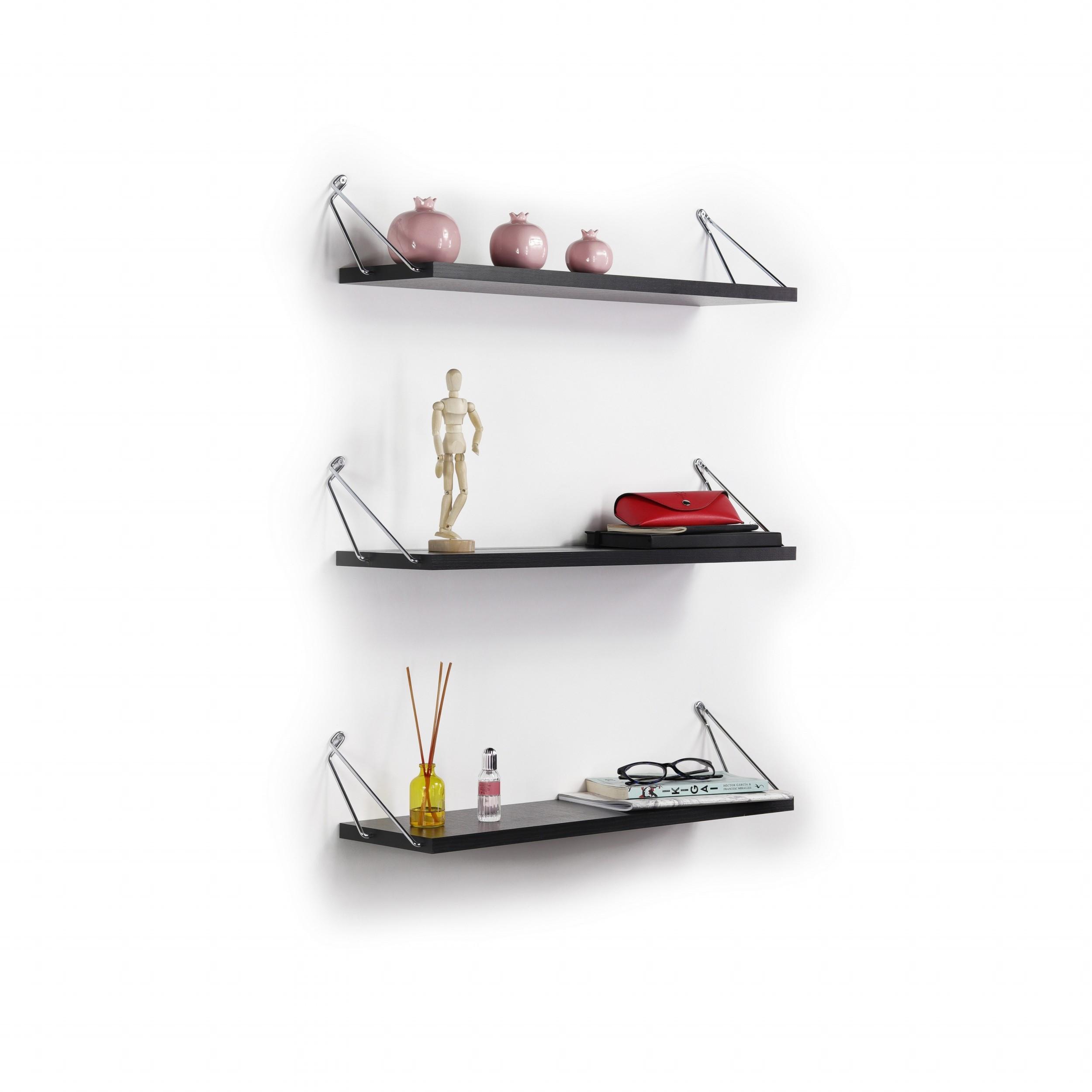 Shelf Altai Set of 3 | Black & Chrome