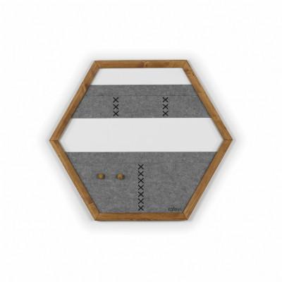 Geometric Organizer Tuva   Wood & Grey & Black Details