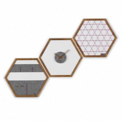 Geometric Organizer Tuva Set of 3   Wood & Grey & Purple Details