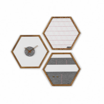 Geometric Organizer Tuva Set of 3   Wood & Grey & Pink Details