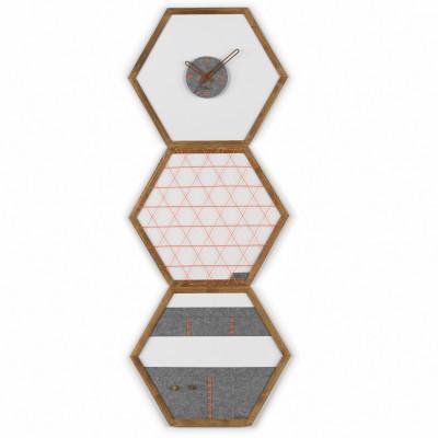 Geometric Organizer Tuva Set of 3   Wood & Grey & Orange Details