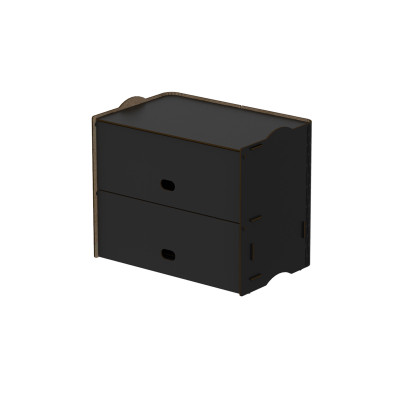 Einseitige Zweifachfächer Box Rock 36x23.5x30 cm | Schwarz
