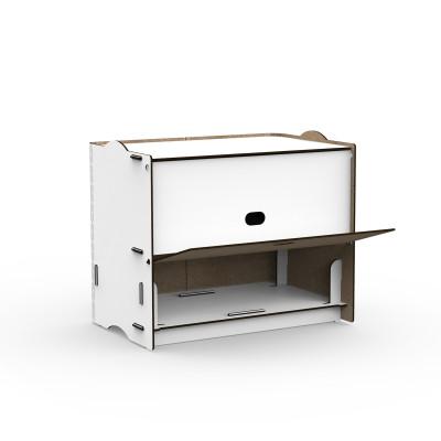 Einseitige Zweifachfächer Box Rock 36x23.5x30 cm | Weiß