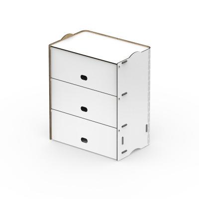 Einseitige Dreifachfächer Box Rock 36x23.5x43.5 cm | Weiß