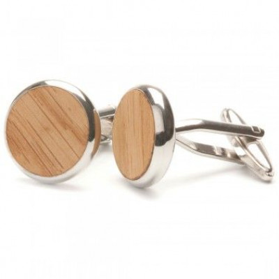 Runde Holz Manschettenknöpfe | Eiche