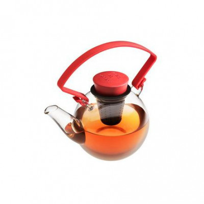 Glass Teapot   Red