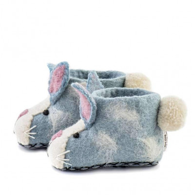 Kinderpantoffeln Rory-Hase   Blau